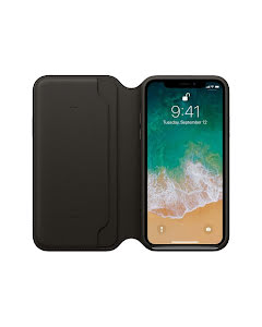 Apple iPhone X Leather Folio Case Black