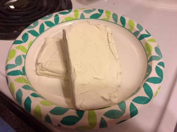 Begin by bringing cream cheese to room temperature.