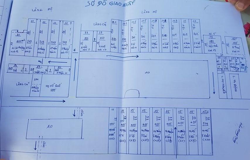 Sơ đồ phân lô, bán nền đất nghĩa trang Mồ Chòi xã Quỳnh Thạch