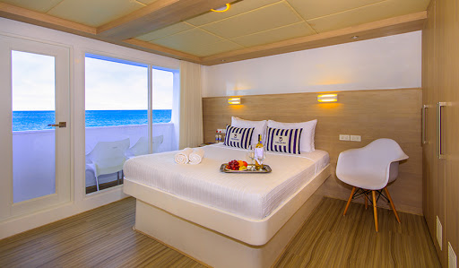 Relax in the comfort of a double suite aboard Avalon Waterways' Treasure of Galapagos.