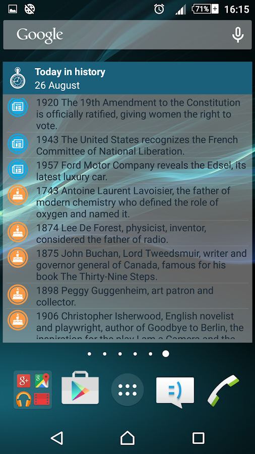 Today in history- screenshot