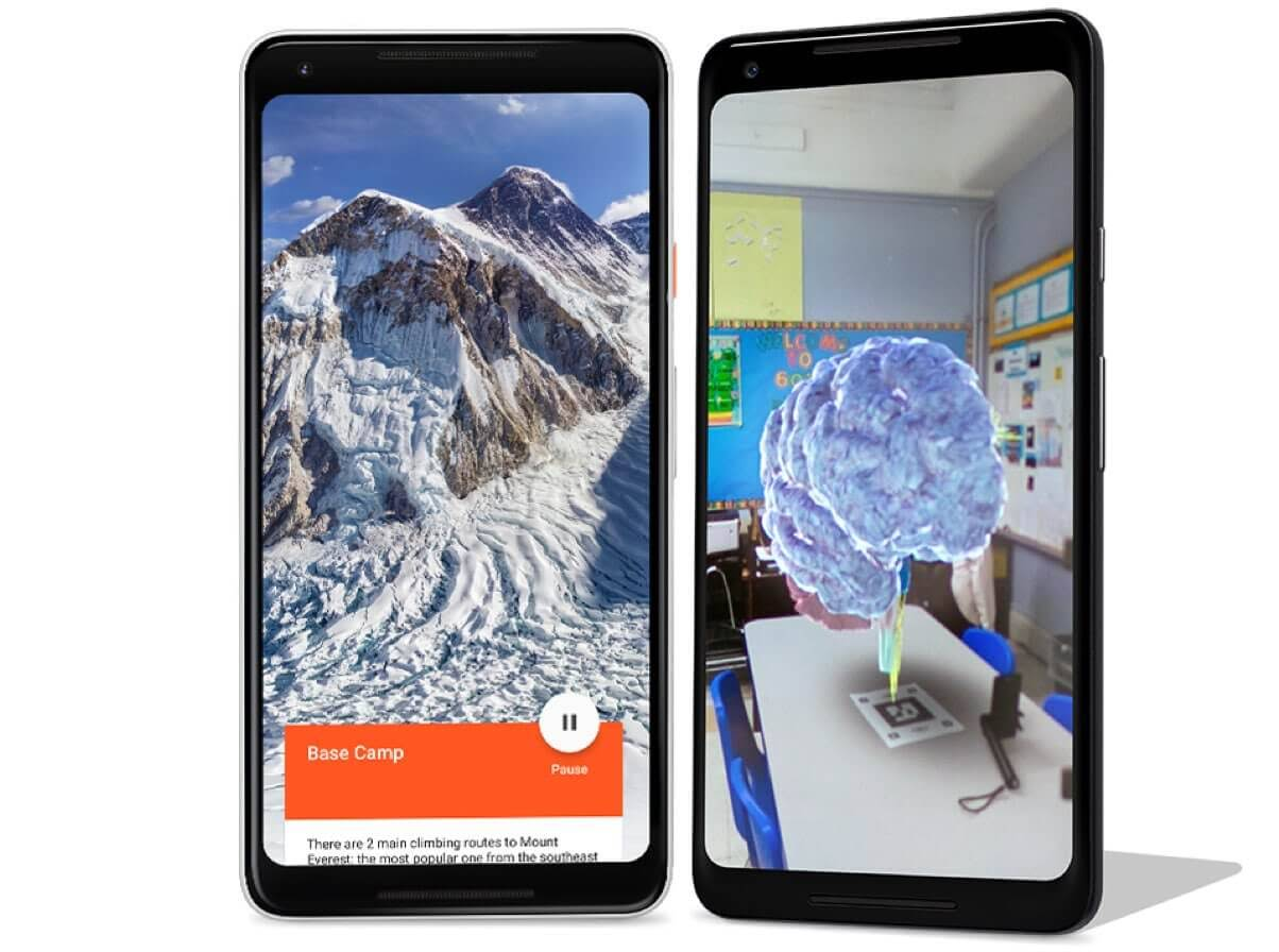 Phone with Expeditions app in VR mode showing Everest and phone with Expeditions app in AR mode showing a brain in a classroom.