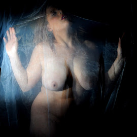 by DJ Cockburn - Nudes & Boudoir Artistic Nude ( off camera flash, standing, white sheer, woman, mixed race, art nude, home shoot, fabric, model, portrait, miss v, three quarter shot )