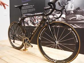 Photo: Trek Factory tour  Trek bike ridden by Cancellara in winning this years Pari Roubaix, still has dirt from race on frame