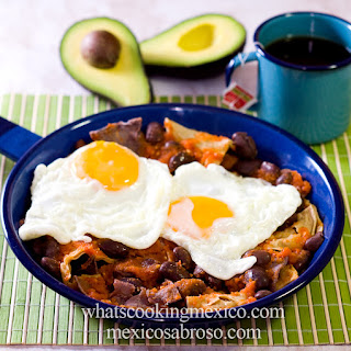 Chilaquiles with Scarlet Runner Beans.