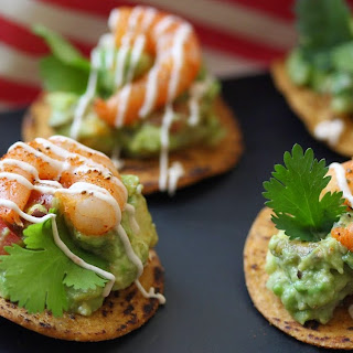 Chipotle Shrimp and Guacamole Tostada Bites