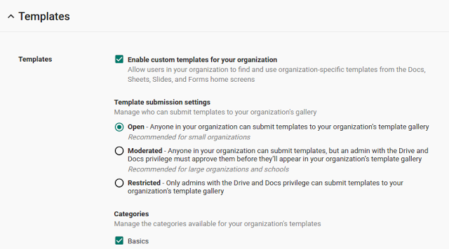 Template gallery controls in Admin console for G Suite Business customers screenshot