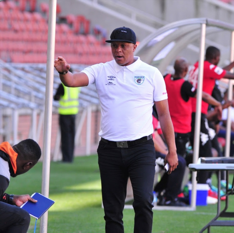 Doctor Khumalo coach of Baroka FC during the Absa Premiership match between Baroka FC and Bloemfontein Celtic at Peter Mokaba Stadium on April 28, 2018 in Polokwane, South Africa.