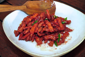 Photo: stir-fried pork belly with red fermented tofu sauce and Thai chillies, Reun Mai