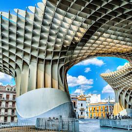 Metropol Parasol , Sevilla  by Nelida Dot - Buildings & Architecture Bridges & Suspended Structures ( blue sky, shape, parasol, city, sevilla, architecture )