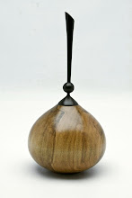 "Photo: #03 - Gary Guenther - Hollow Vessel with Finial - 3.5"" x 7.125"" - Spalted Silver Maple and Ebony"