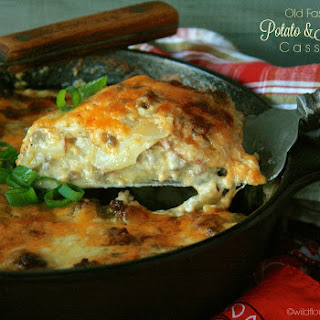 Old-Fashioned Cheesy Scalloped Potato & Hamburger Casserole ~ The Secret Recipe Club.