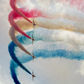 Formation of 5 by Neil O'Connell - Transportation Airplanes ( avaiation, red arrows, flight, aircraft, display, team, jet, airshow, hawk )