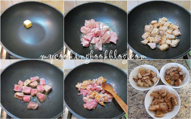 Три вида месо в книжна кесия