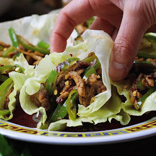 Paleo Chinese Spicy Pepper Pork Lettuce Wraps.