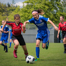 First To The Ball by Garry Dosa - Sports & Fitness Soccer/Association football ( running, soccer, ball, sports, outdoors, children, action, girls, sport )