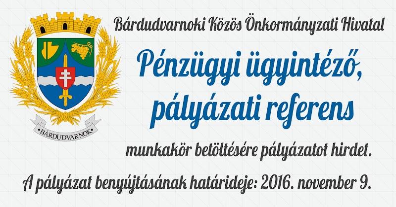 Pénzügyi ügyintéző pályázati referens álláshirdetés 2016