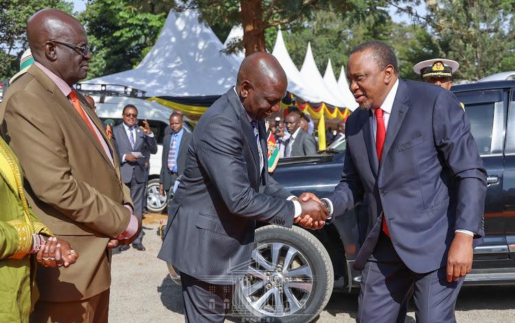Deputy President William Ruto welcomes President Uhuru Kenyatta at the Kiambu Institute of Science and Technology on Tuesday, February 25, 2020.