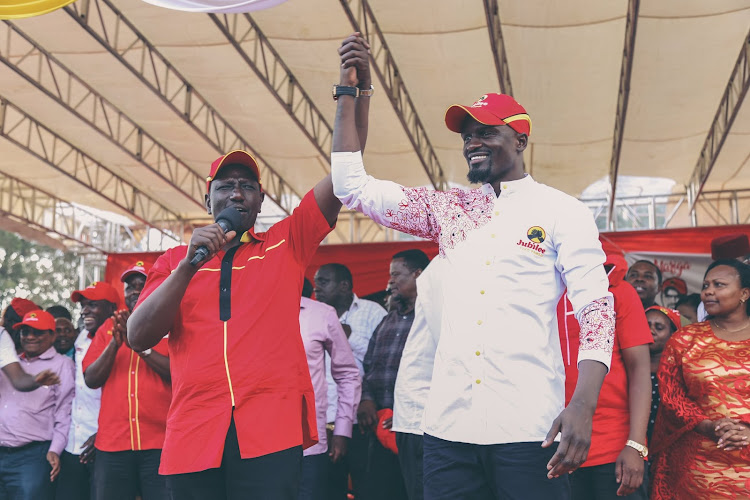 DP ruto in Laini Saba grounds, Kibra, on Sunday ahead of the by-election on Thursday.