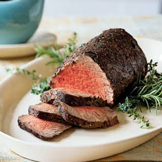 Thyme and Spice-Rubbed Roast Beef Tenderloin au Jus.