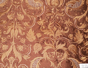 "Photo: <> STYLE JSE-38 BROWN <> WIDTH 54"" <> 100% SILK EMB. ON  SHANTUNG <> PRICE $30.45/YRD <>"
