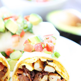 Chorizo Bacon Breakfast Burritos