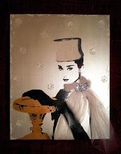 """Photo: Servizio pubblicitario in """"Cenerentola a Parigi"""" (Funny Face)  40x50cm  Soggetto realizzato con stencil fatto a mano, colori acrilici e colori acrilici spray, tulle bianco, carta perlata bianca, orecchino e spilla realizzati con strass Swarovski grandi (tutti cuciti a mano), strass di cristallo, strass di resina su tela.  Subject made with handmade stencil with spray acrylic colours, white tulle, pearly white paper, earring and brooch made with large Swarovski rhinestones (all hand-sewn), crystal rhinestones, resin strass on canvas.  DISPONIBILE  Per informazioni e prezzi: manualedelrisveglio@gmail.com"""