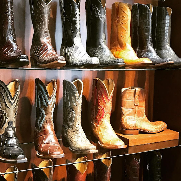 A variety of specialty leather boots on display at Lucchese in The Gulch.