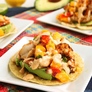 Grilled Shrimp Tostadas with Mango Salsa and Chipotle Cream.