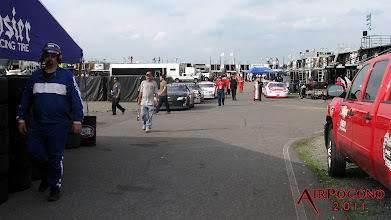 Photo: While the Sprint Cup is on the track practicing, the ARCA series cars are in line waiting for their turn.