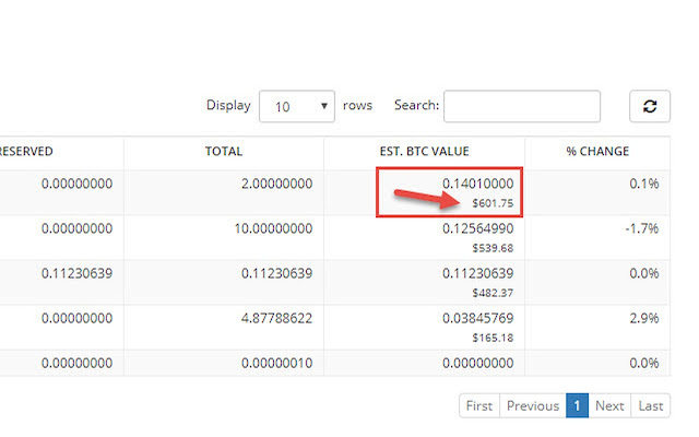 Add the USD value to the output of the BTC Value column on Bittrex
