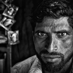 The Day Labourer by Nishit Shuvo - People Portraits of Men ( white, people, black, portrait, eyes, and )