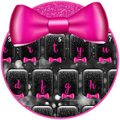 Black Glitter Pink Bow Keyboard Theme