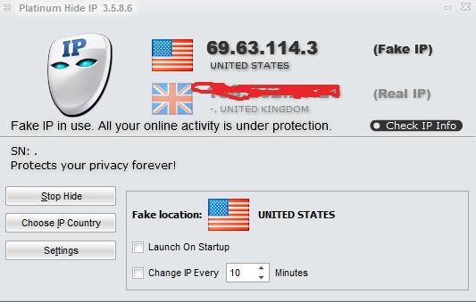 Phần mềm ẩn ip Platinum Hide IP
