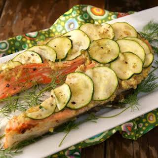 California King Salmon with Lemon-Caper Pesto and Zucchini.