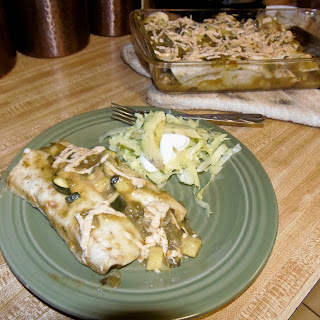 Chick'n and Zucchini Enchiladas.