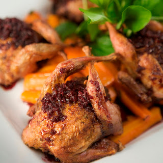 Quail Milton with Wild Mushroom-Andouille Duxelles and Port Wine Sauce