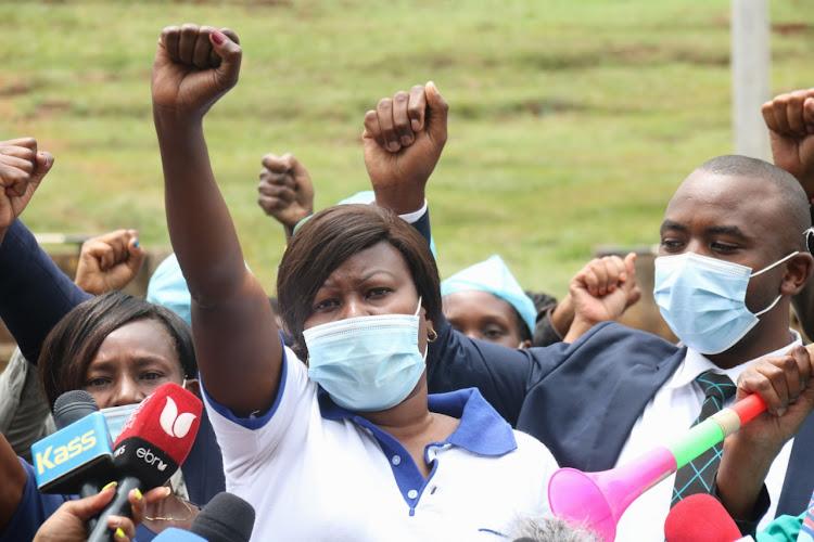Healthcare workers in Uhuru Park, Nairobi, on November 5, 2020