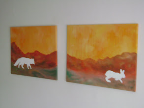 """Photo: AVAILABLE Posters: 12.25""""x17.25"""" ($5 ea. free shipping)  Original: Fox and Rabbit: 18"""" x 24"""" each (SOLD)"""