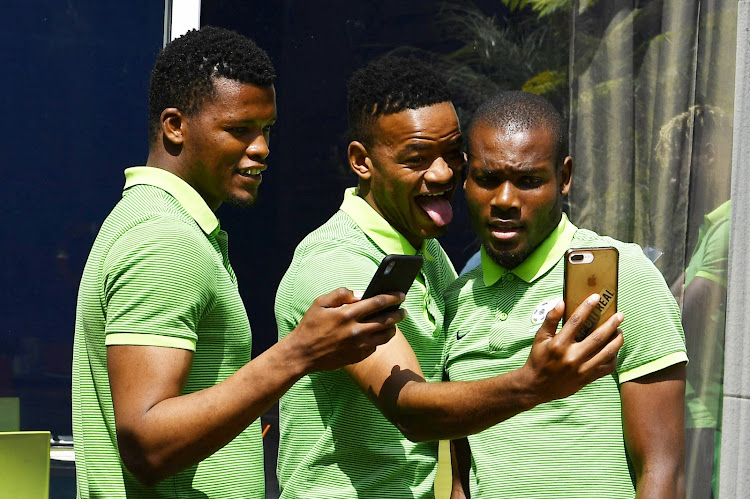 SA Under-23 players Mondli Mpoto, Sipho Mbule and captain Tercious Malepe.
