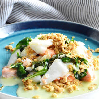 Fish Duo Crumble with a White Wine Shallot Sauce.