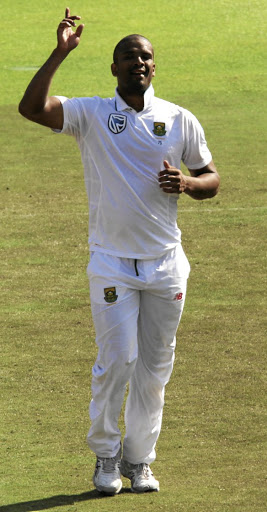 Menace:  Proteas fast bowler Vernon Philander celebrates one of his four wickets in the second Test at Newlands against Sri Lanka. Picture; GALLO IMAGES