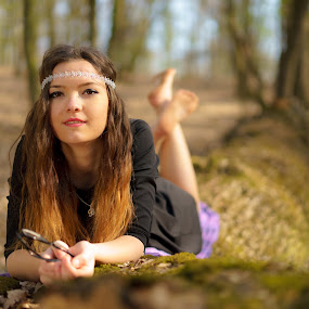 In the forest  by Hurghis Vasile - People Portraits of Women ( girl, nature, green, colors, woman, forest, natural, people, portrait )