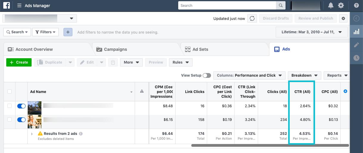 find CTR for Facebook ads - step 4