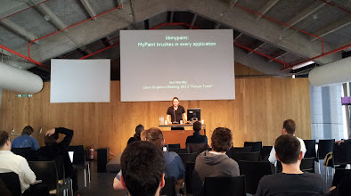 Photo: Jon Nordby's talk ( Gimp, Mypaint, Gegl dev ) about libmypaint