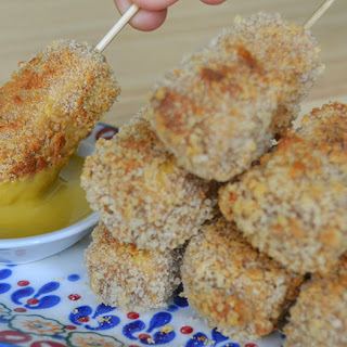 Crispy Baked Tofu Nuggets with Sweet Mustard Dipping Sauce