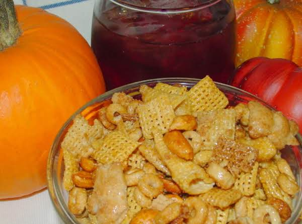 Nice Bowl Of Honey Roasted Chex Mix And A Glass Of Crenberry Juice Is A Great Fall Snack.