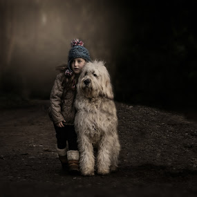 Embraced by the light by Una Williams Photos - Babies & Children Child Portraits ( winter, girl, family, dog, woods )