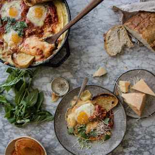 Tomato-braised Eggs And Creamy Baked Polenta