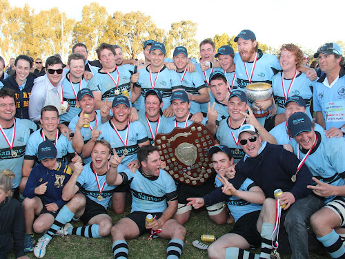 Narrabri Blue Boars celebrate winning the Central North grand final in Moree on Saturday. The side won 30-20 with a packed house at Weebollabolla Oval.